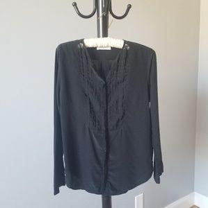 Sandro 100% Black Sheer Silk Blouse